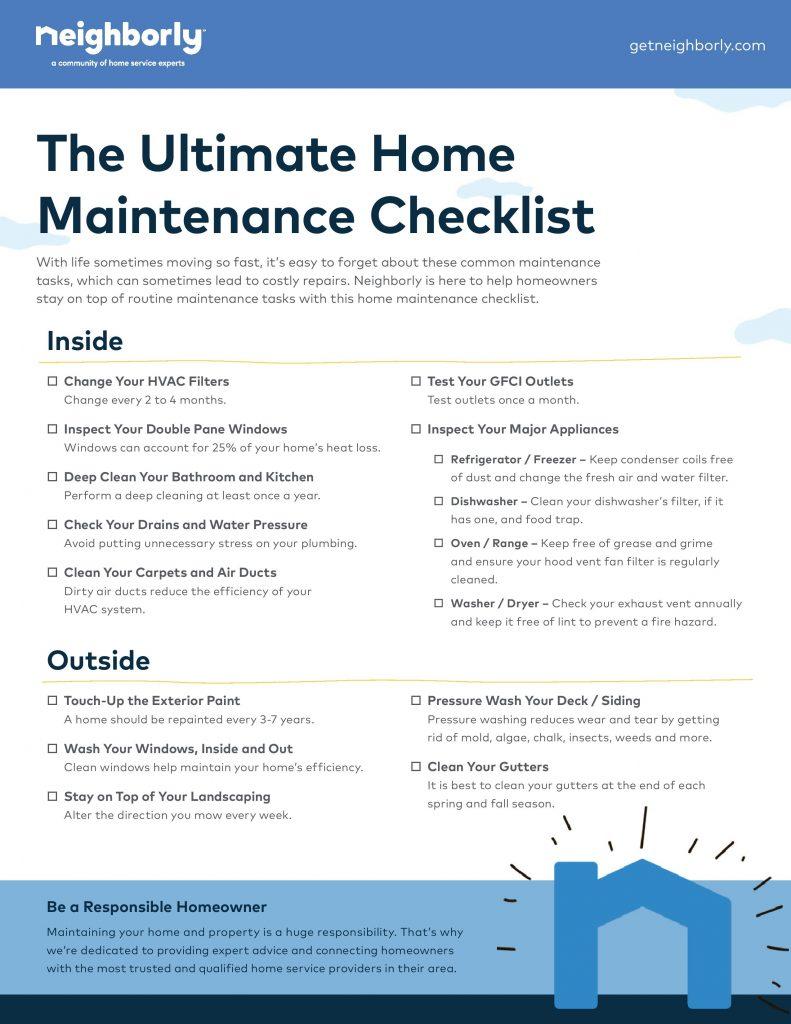 home maintenance list
