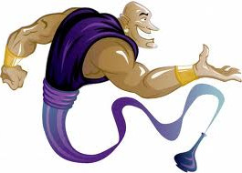 Genie coming out of a bottle