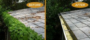Before and after of a gutter cleaning service.