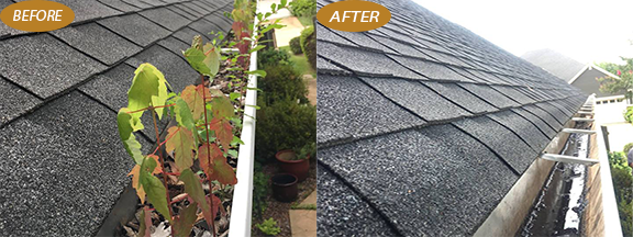 before and after picture of dirty gutters and clean gutters using Window Genie gutter cleaning service