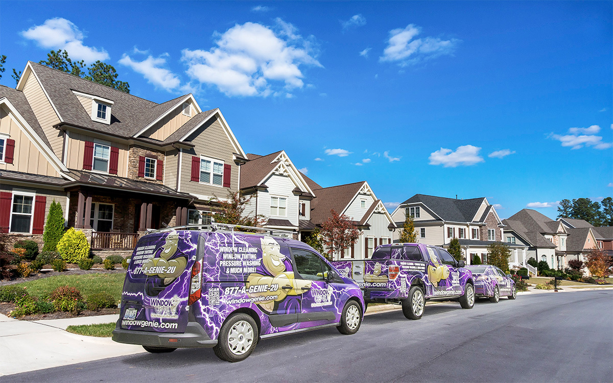 Window Genie vehicles out cleaning windows in a neighborhood near you.