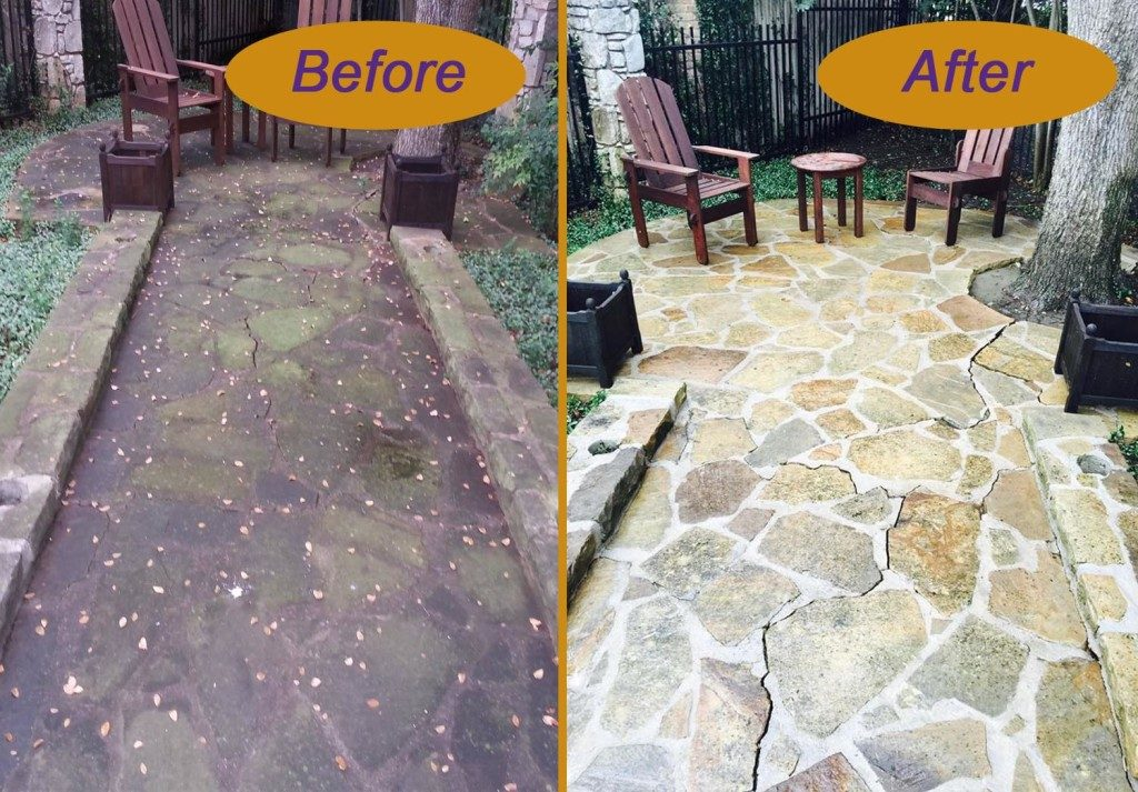 Concrete walkway cleaning before and after. Service provided by your local Window Genie