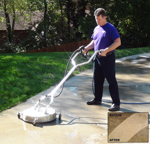 Concrete driveway cleaning service provided by your local Window Genie.
